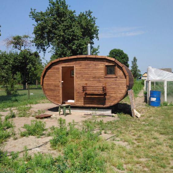 Баня овало-бочка с душем с 2.5x4м (2 помещения)