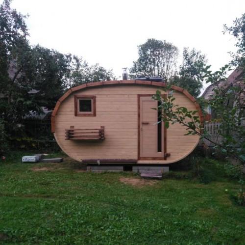 Баня овало-бочка с козырьком 2.5x4м (2 помещения)
